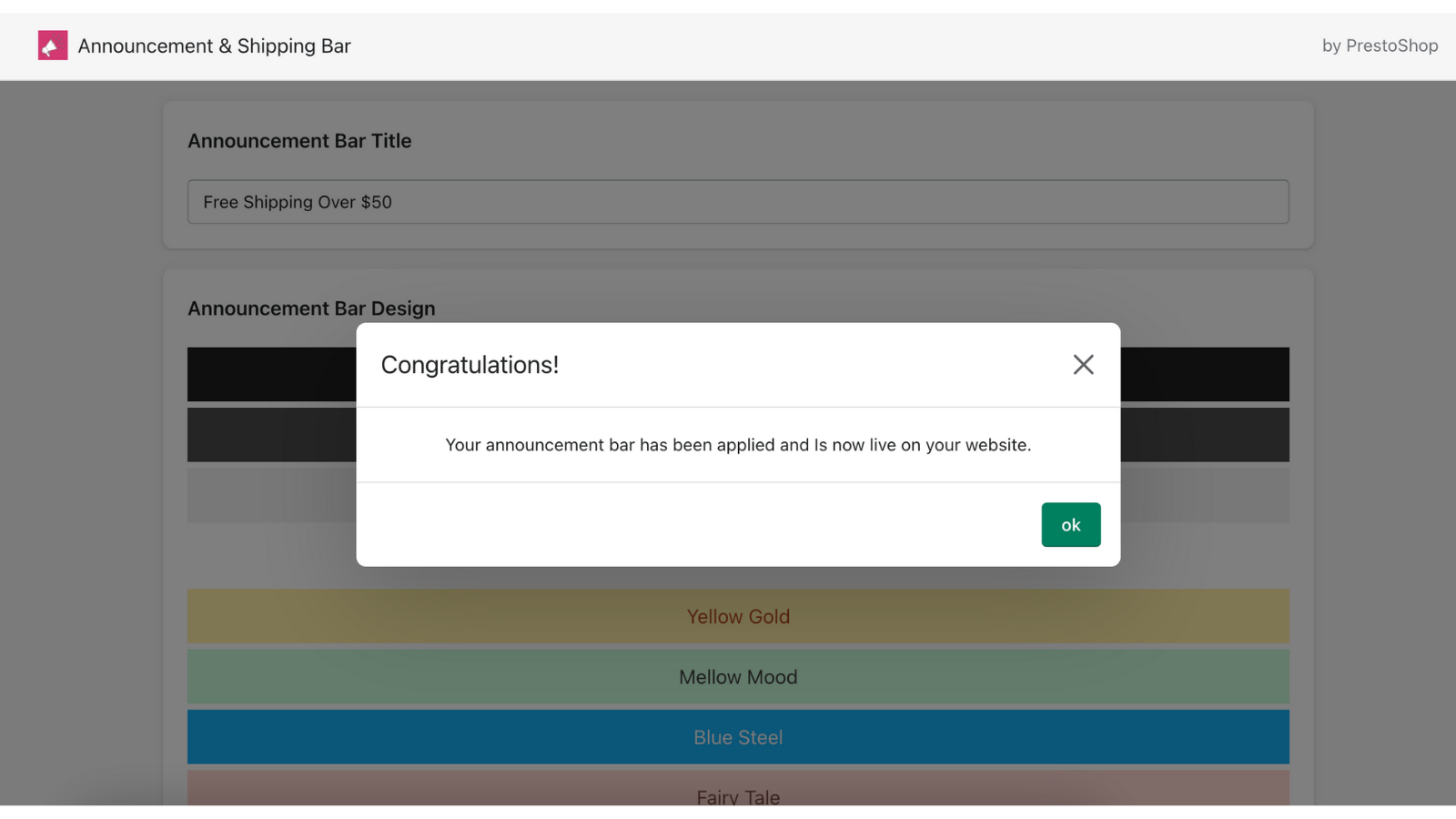 Publish and confirm your announcement bar is live