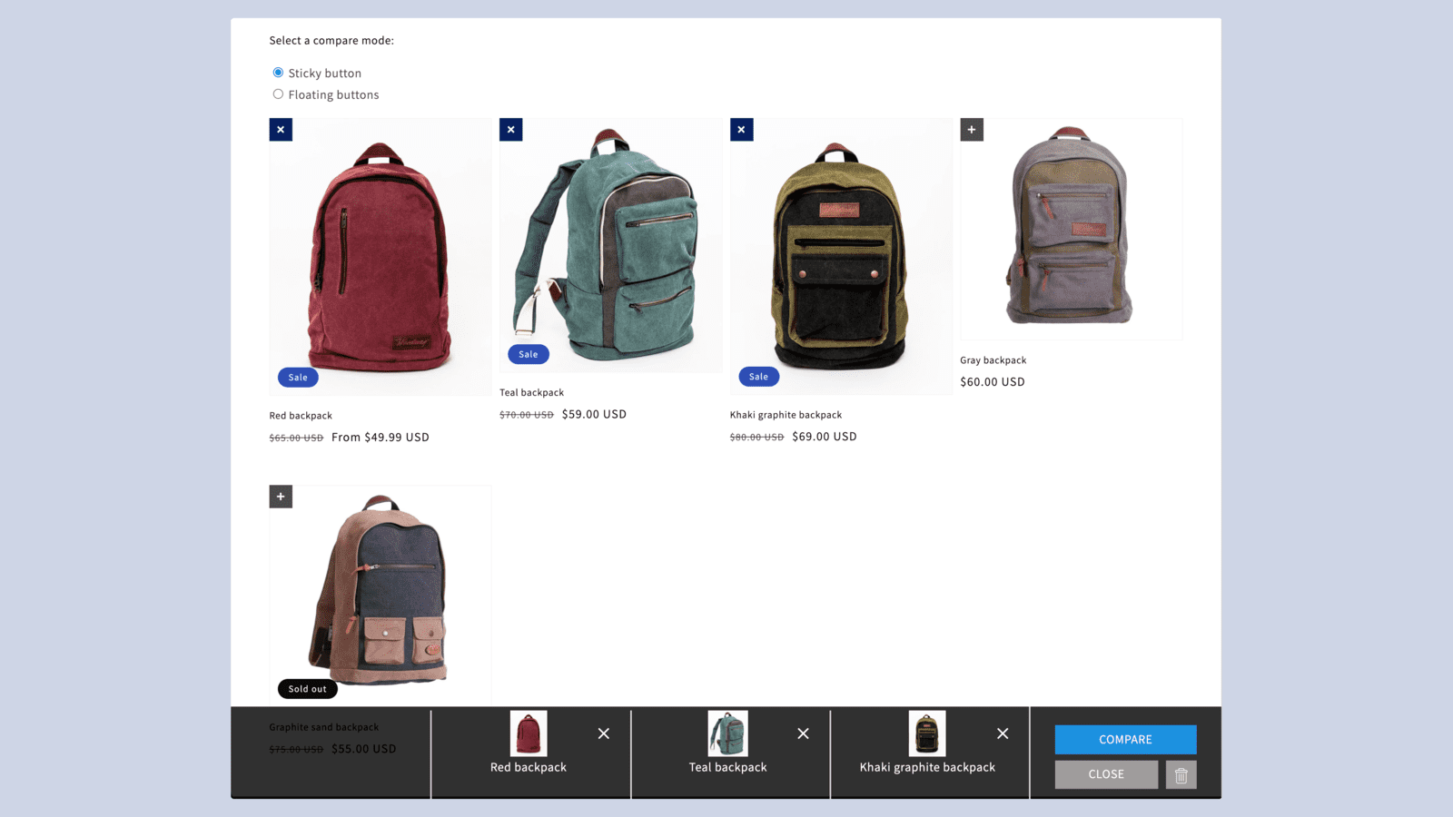 Compare products on collection page. Comparison mode.