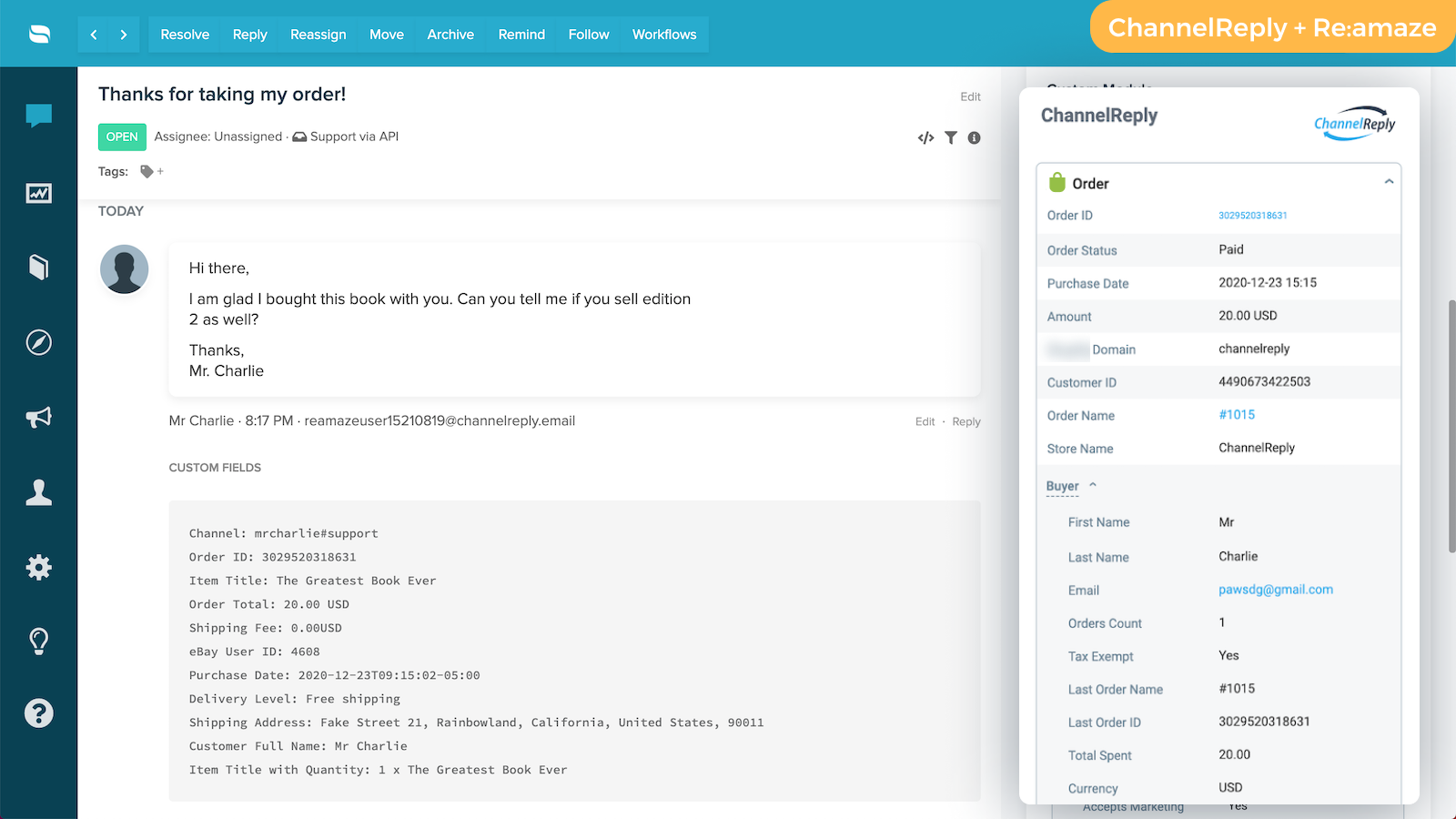 ChannelReply's Re:amaze-Shopify integration in action