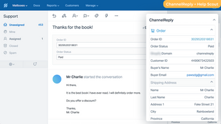 ChannelReply displaying Shopify data in Help Scout