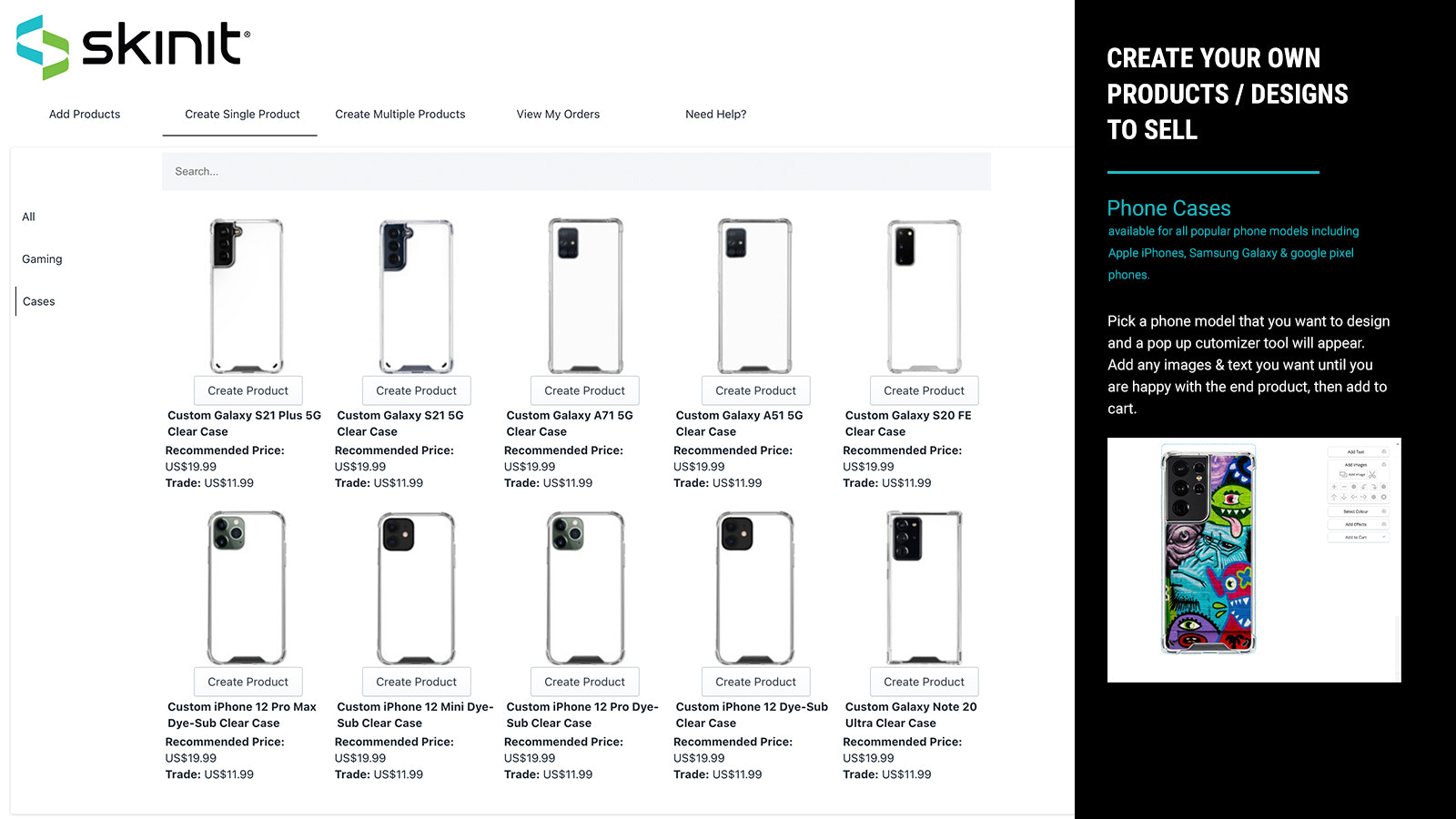 Pick and Customize your phone model