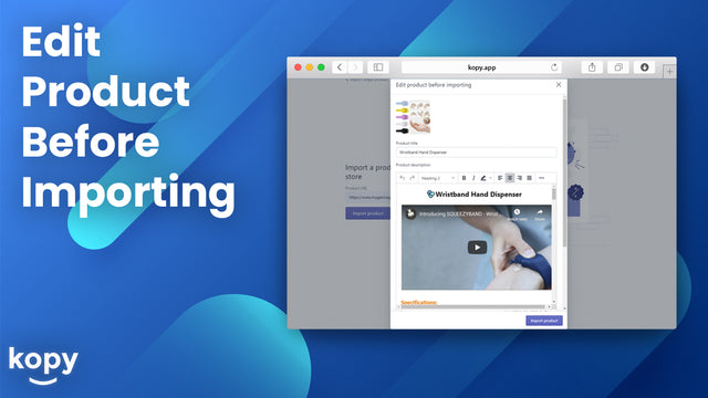 Edit a product before importing