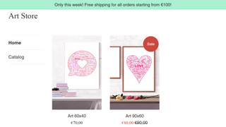 """Banner: """"Free shipping for all orders starting from €100!"""""""
