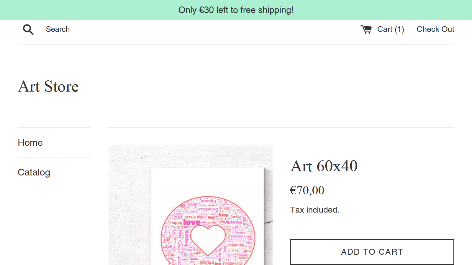 """Banner: """"Only €30 left to free shipping!"""""""