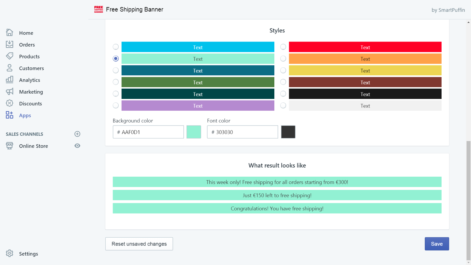 App UI: controls for selecting color and seeing the end result