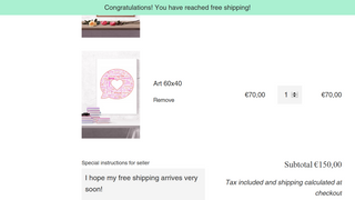 """Banner: """"Congratulations! You have reached free shipping!"""""""
