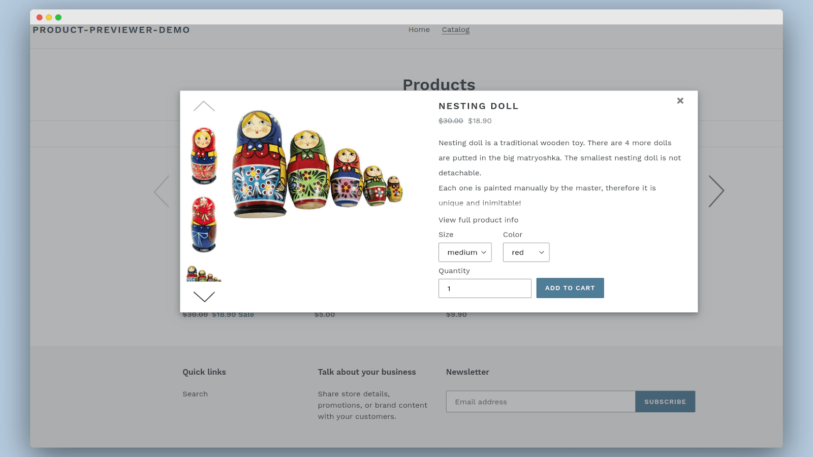 Previewer popup for product with several options