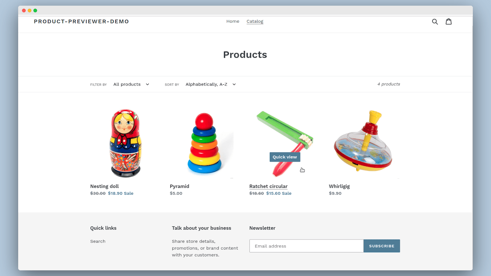 Collection page with quick view buttons
