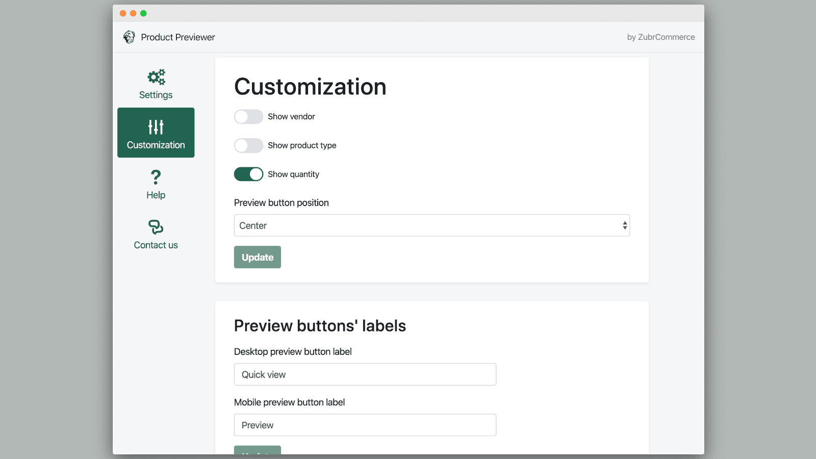 Product Previewer customization page