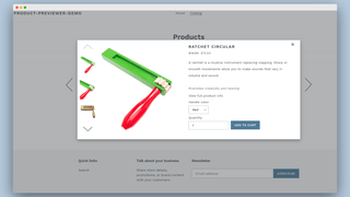 Preview modal for product with one option