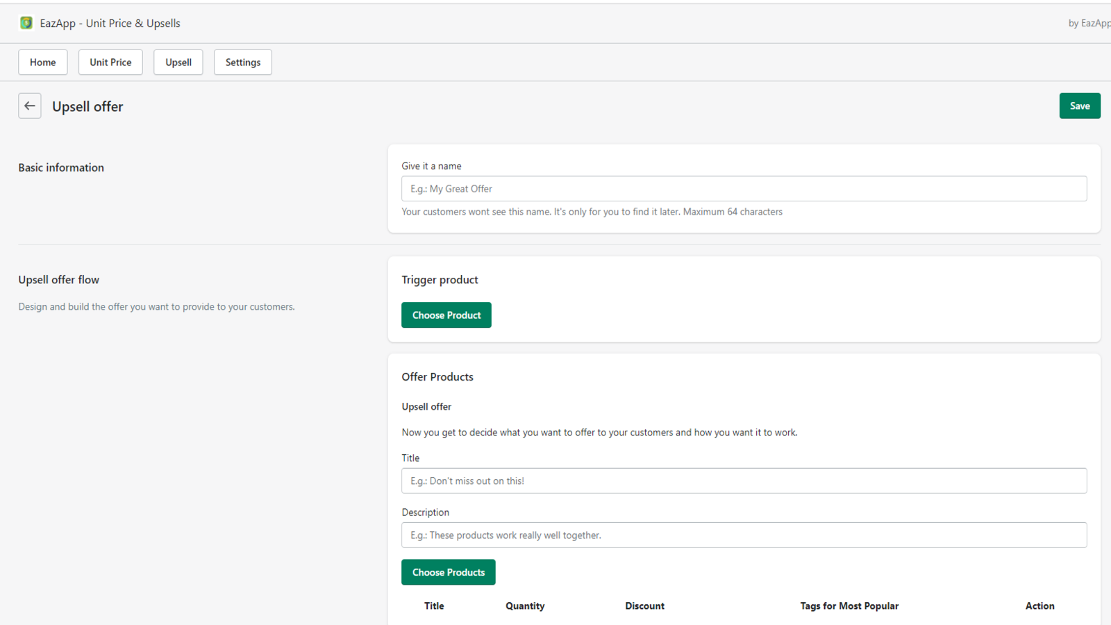 You can select to add upsells or bulk offers on each product