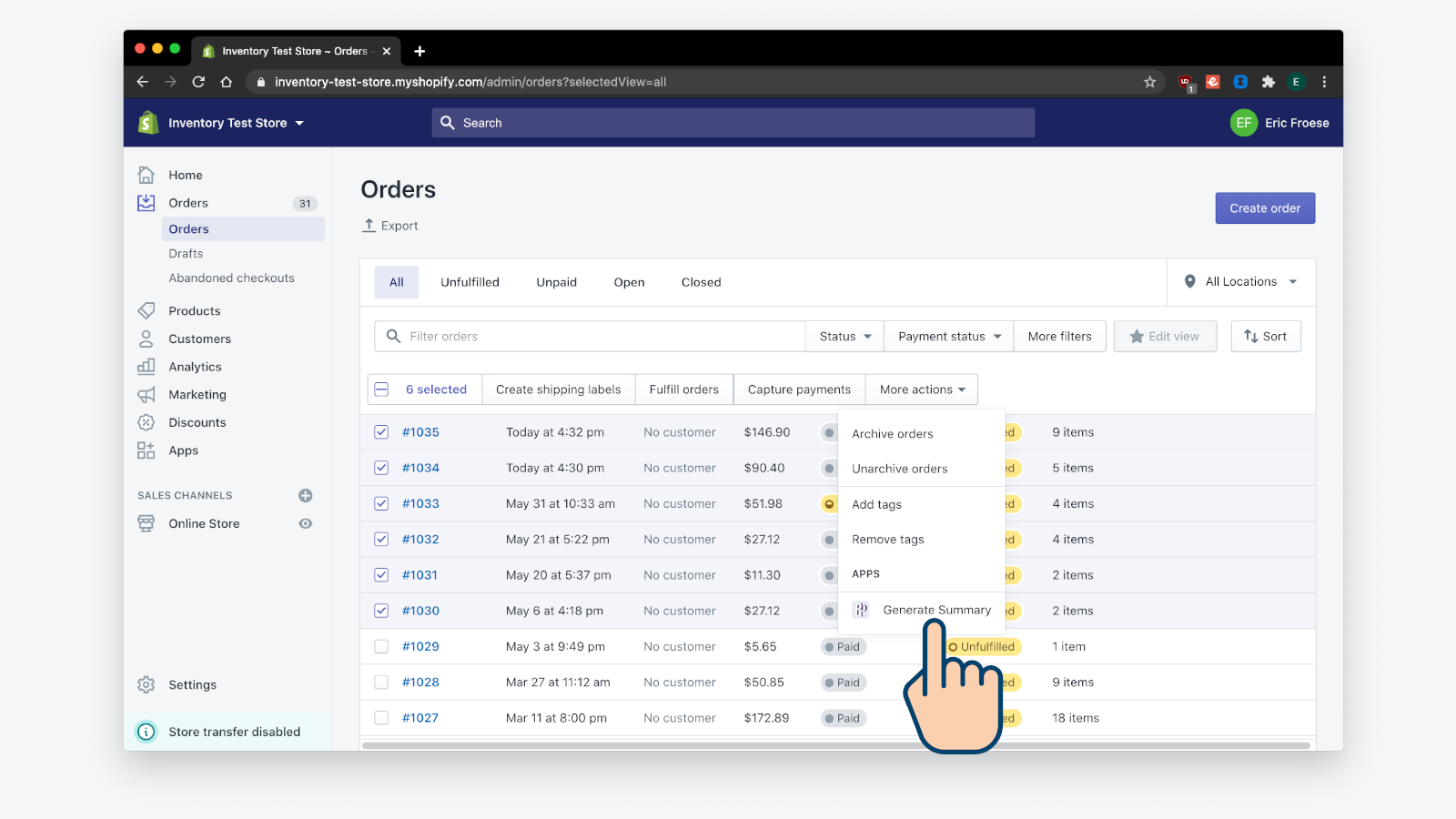 Generate summary from orders page