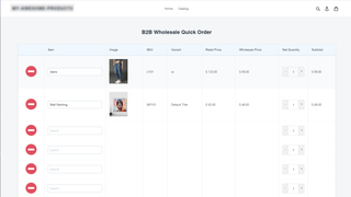 B2B quick order page on the store front
