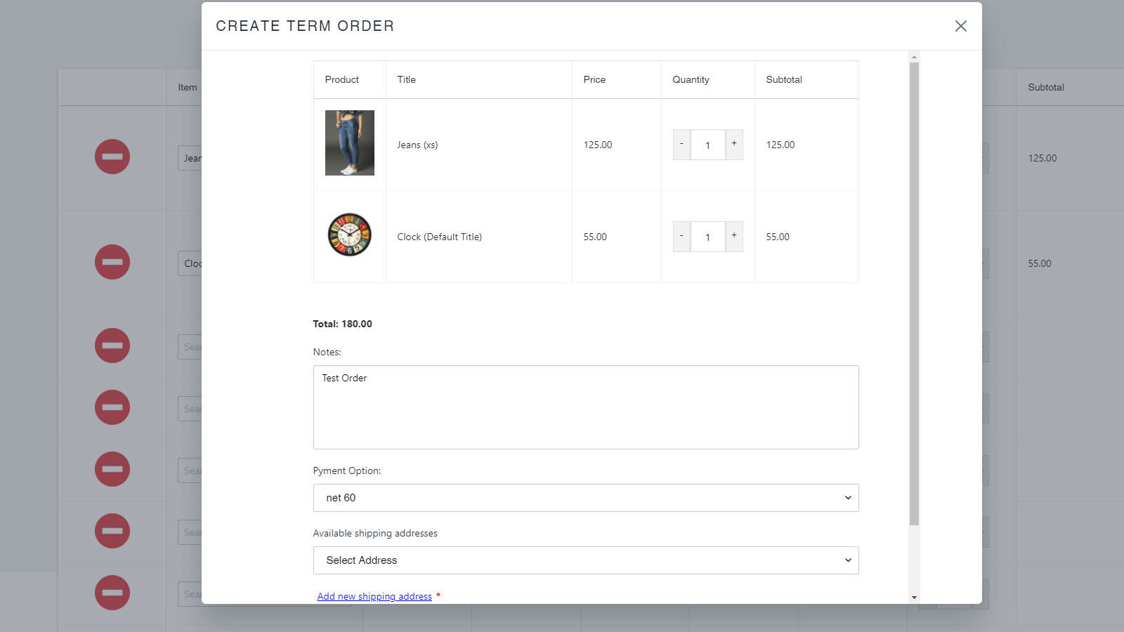 Create a term order from front end