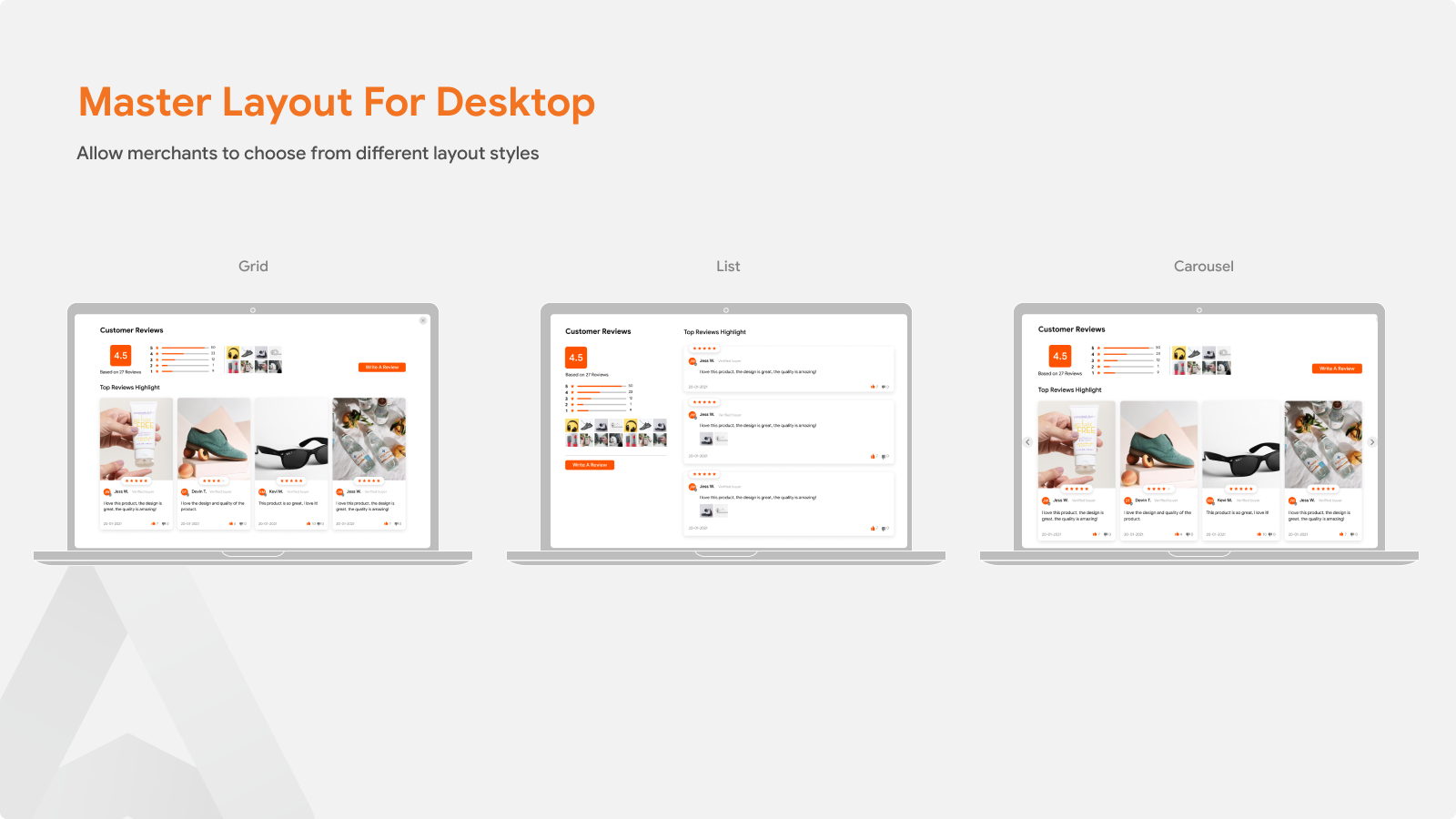 Product Reviews App  For Master Layout For Desktop
