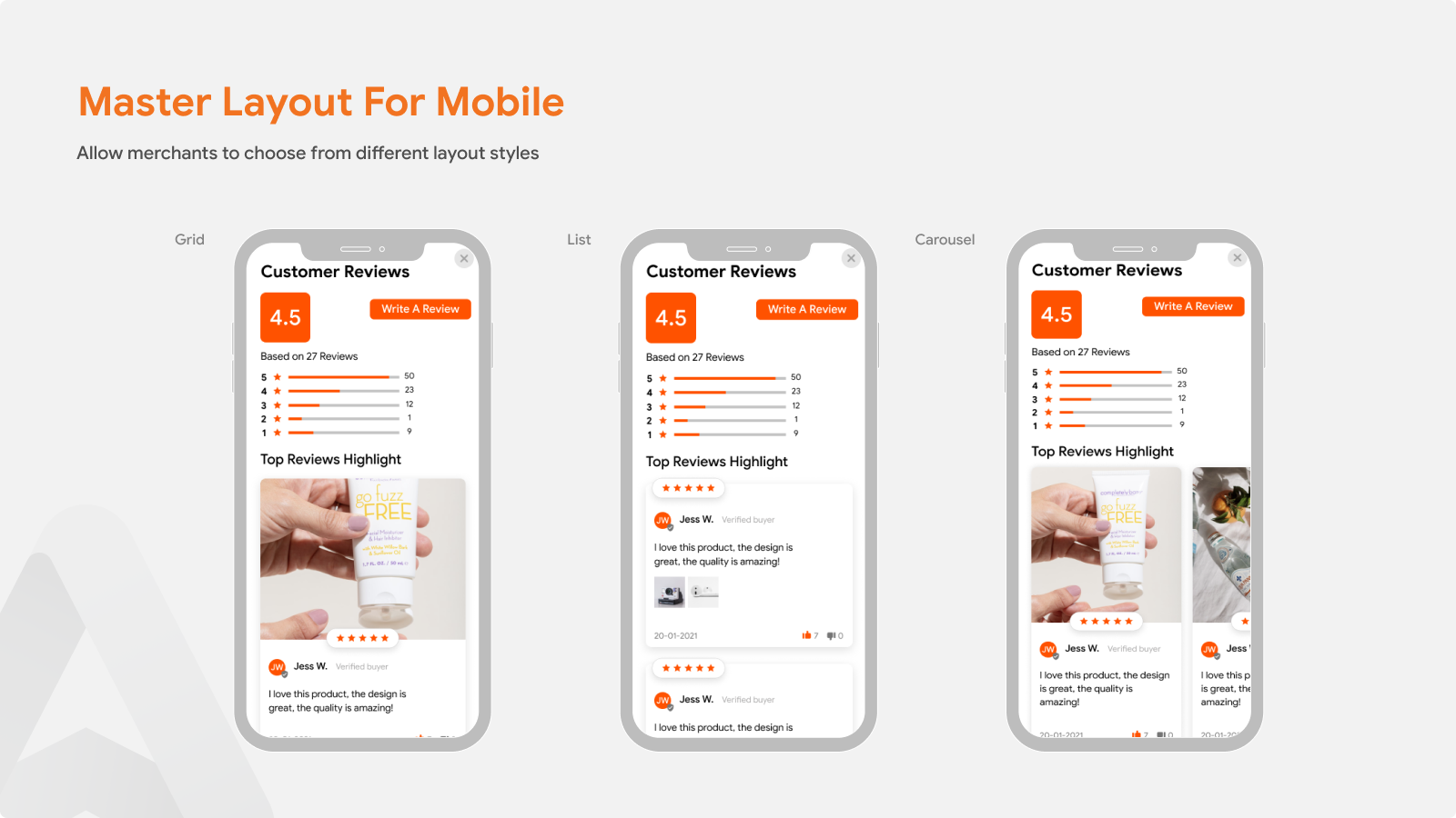 Product Reviews App  For Master Layout For Mobile