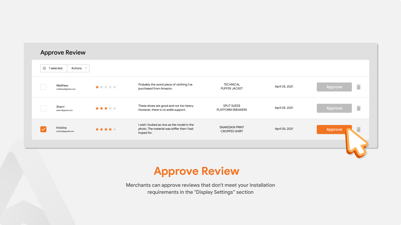 Product Reviews App For Approve Review