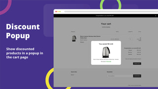 Show a discount popup in the cart page to capture the attention