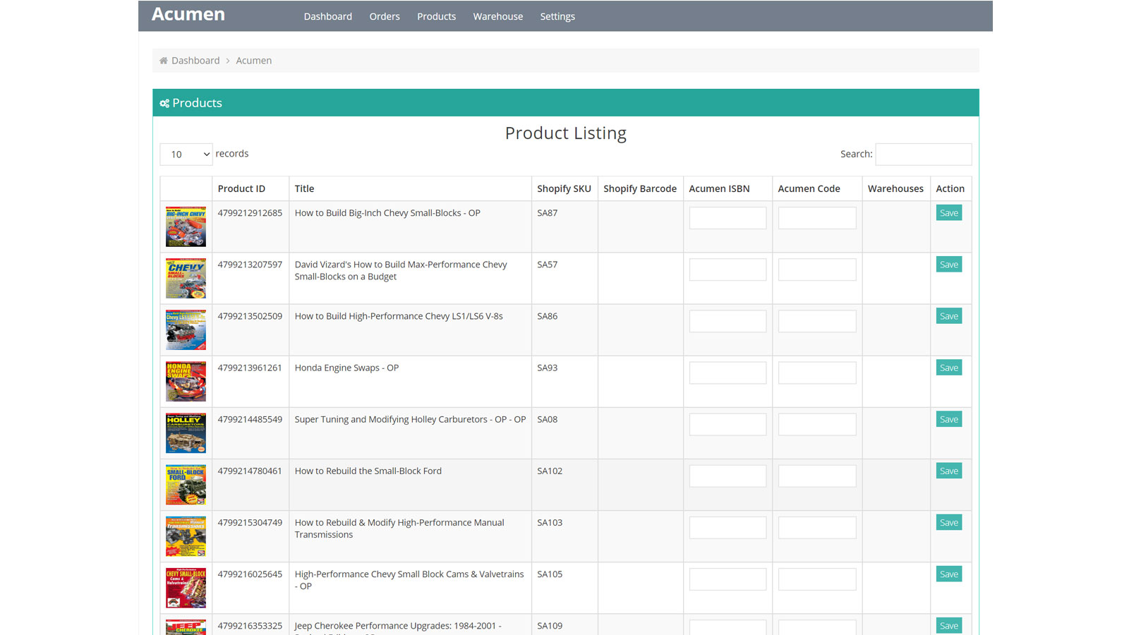 Products listing