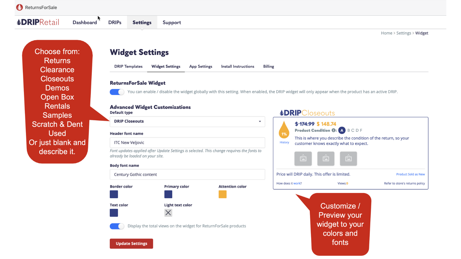 Customize the widget to your brand and theme.