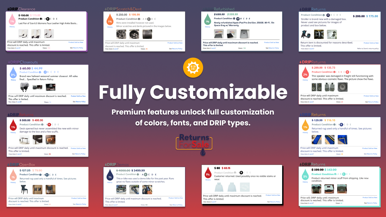 Unlock full customization of colors, fonts, and types.
