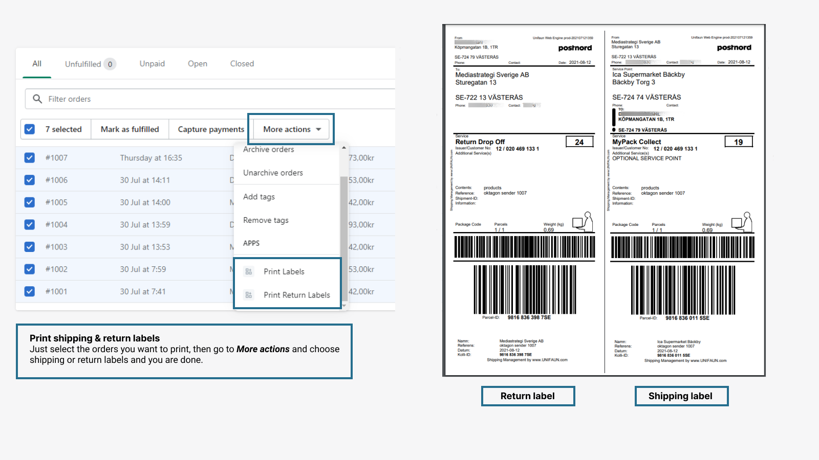 Delivery Checkout, automation, shipping labels, pickup points