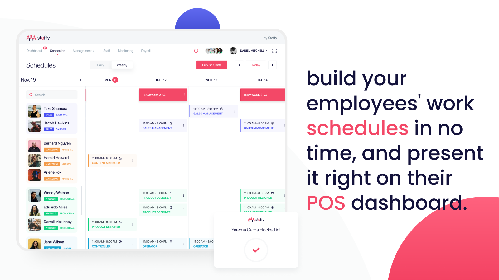 shopify scheduling, staff scheduling, pos scheduling, time clock