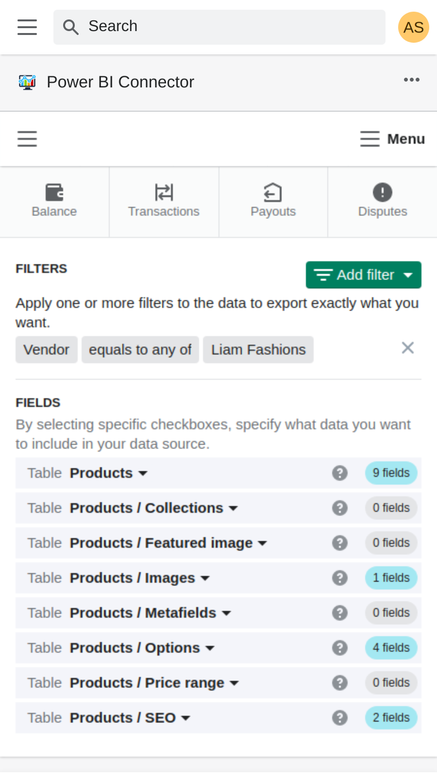Select any products data to export from shopify to power bi