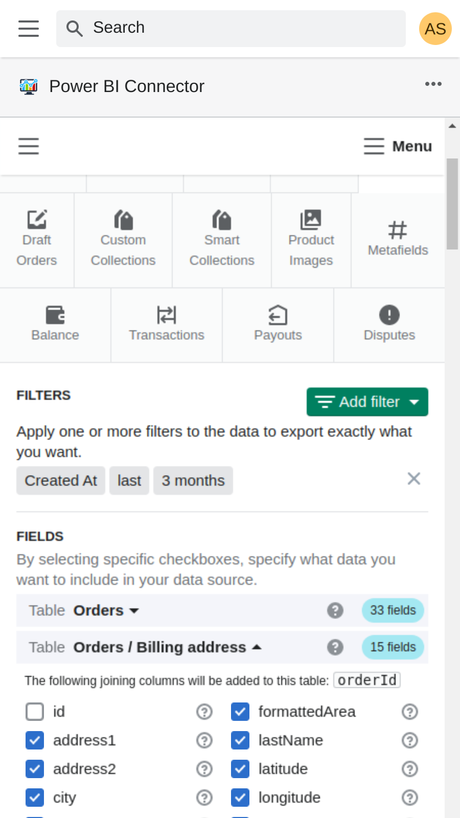 Select any orders data to export from shopify to power bi