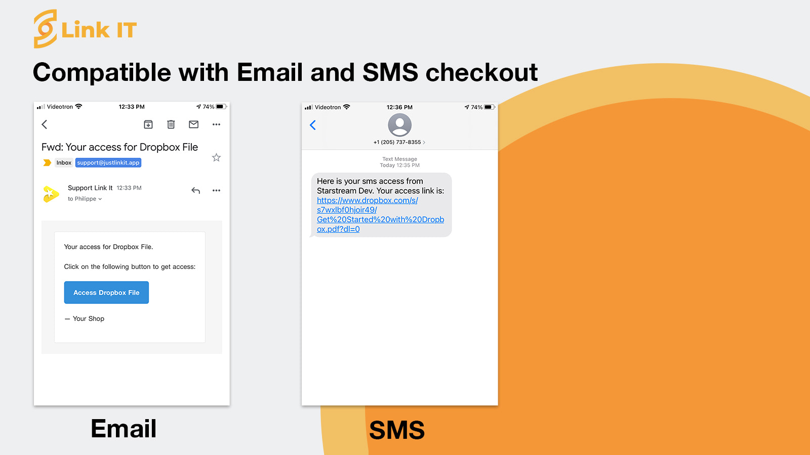 Compatible with Email and SMS checkout