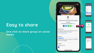 One-click to share group on social media