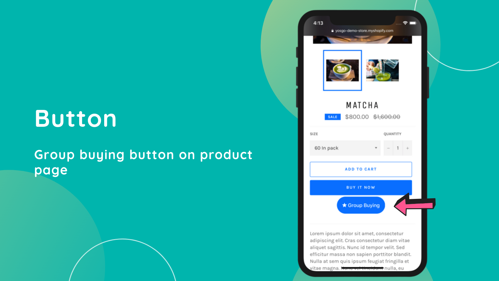 Group buying button on product page