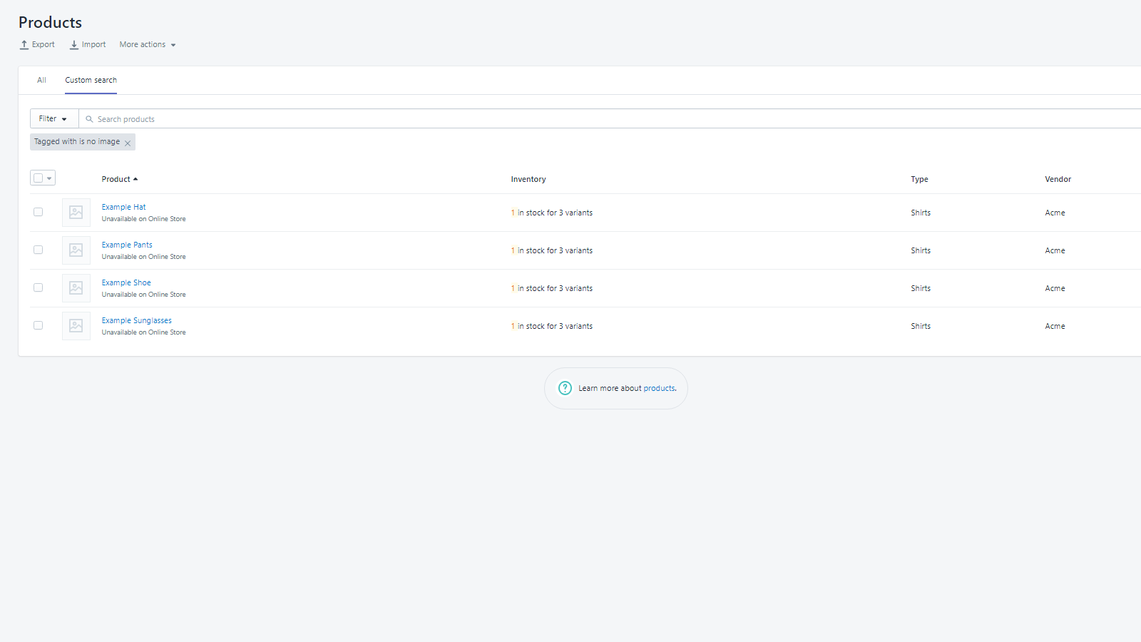 Easily find products in the Shopify admin using tag filters