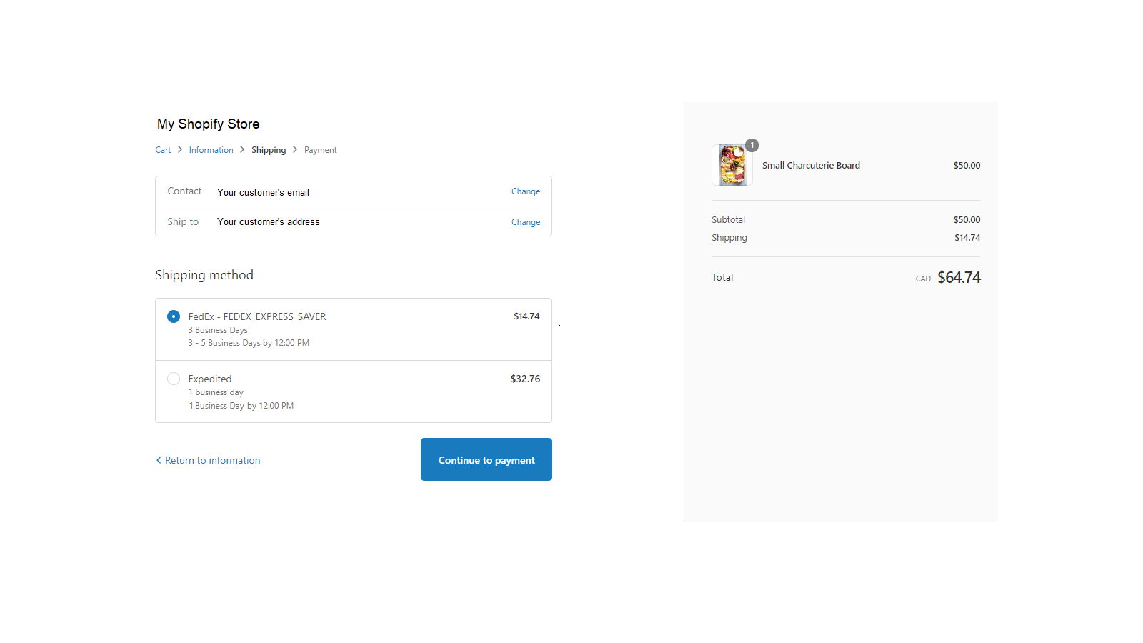 Checkout page showing price and service options