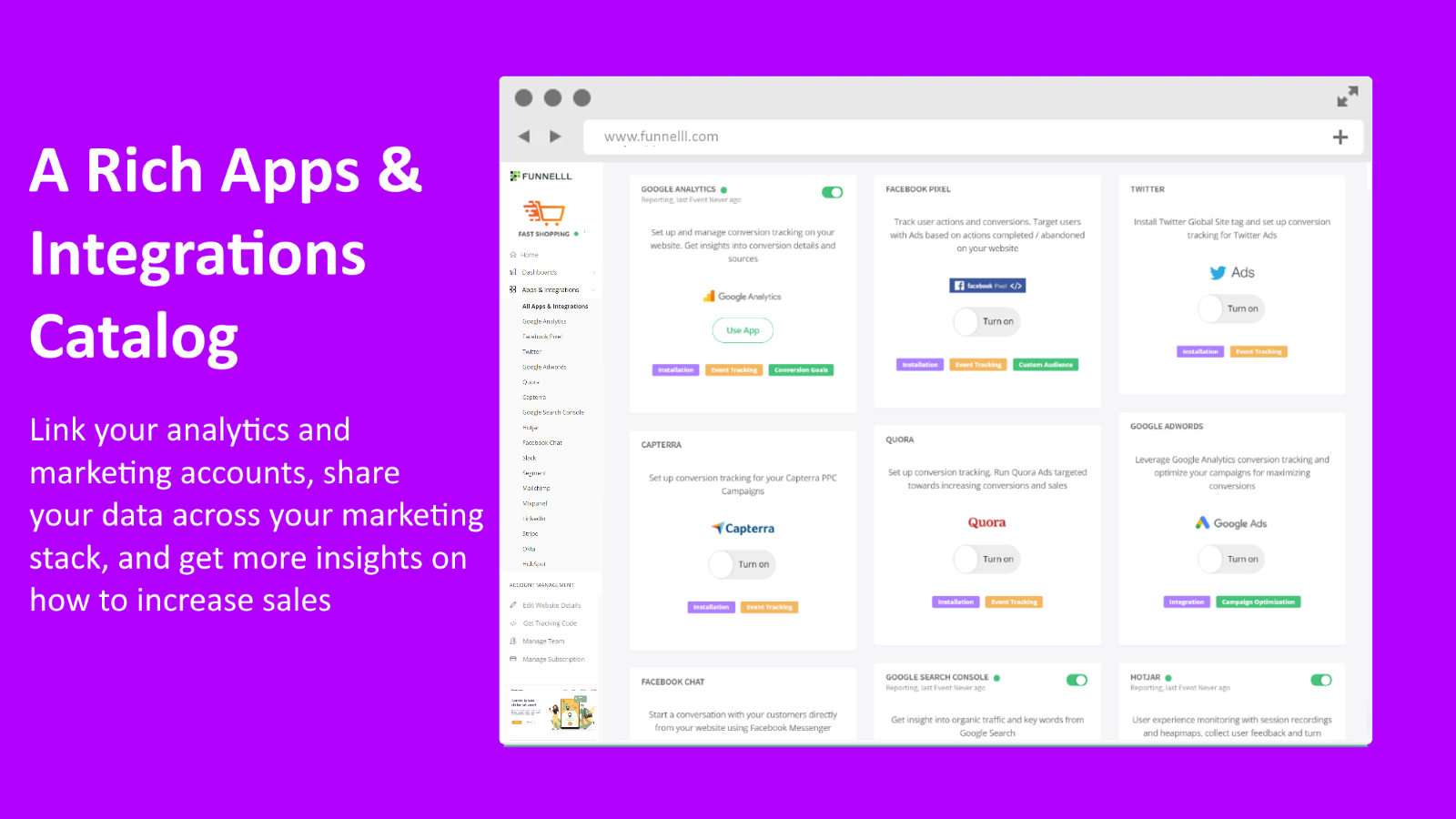 Google Analytics, Ads, Facebook, and more - Funnelll on Shopify