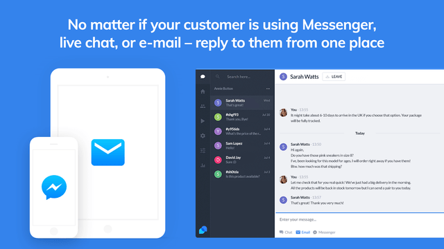 Support for Live chat, Messenger and Email