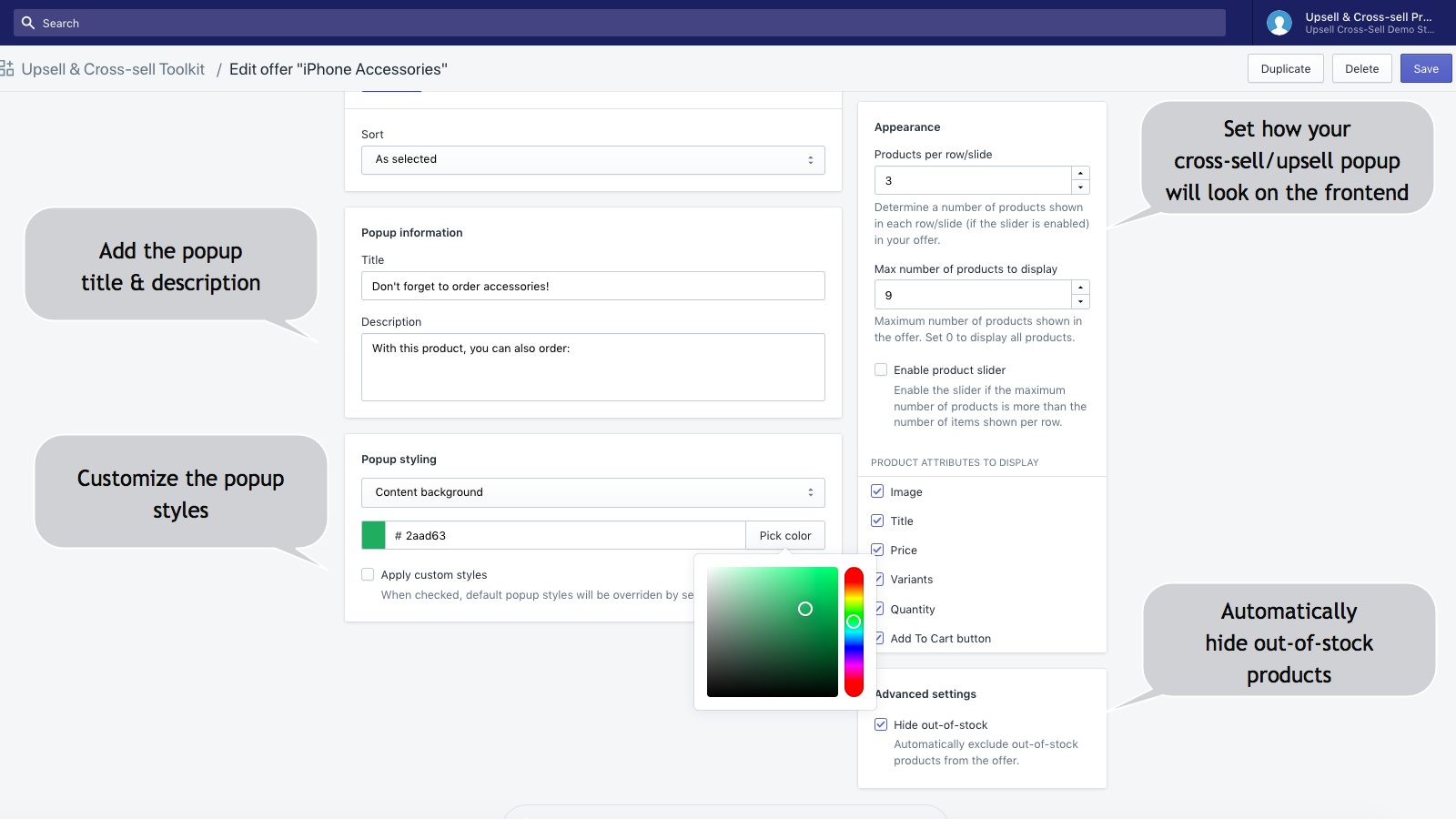 Related Products Manager app for Shopify, General settings