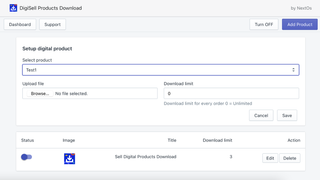 Sell digital products - select product + upload file