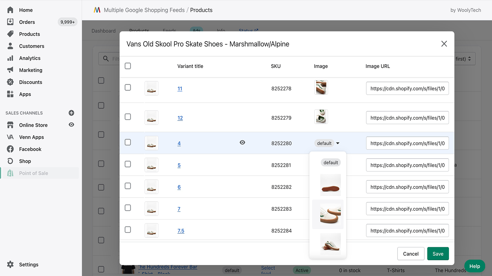 Customize feed image for each product variants