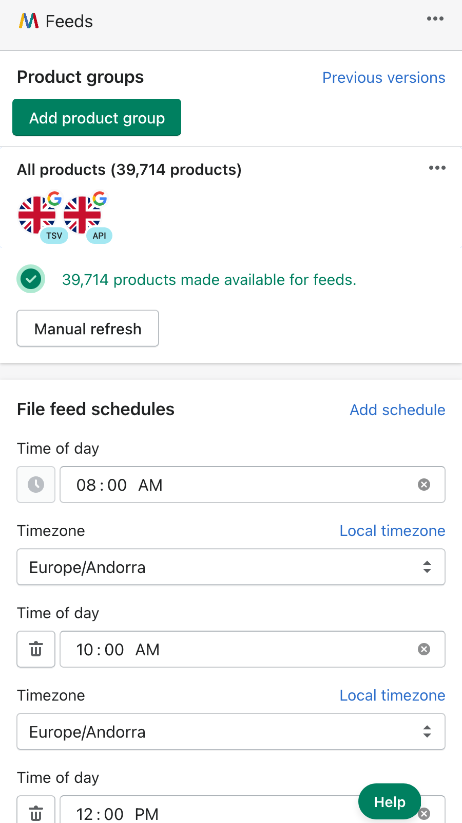Refresh feeds at specific times of day as frequently as needed
