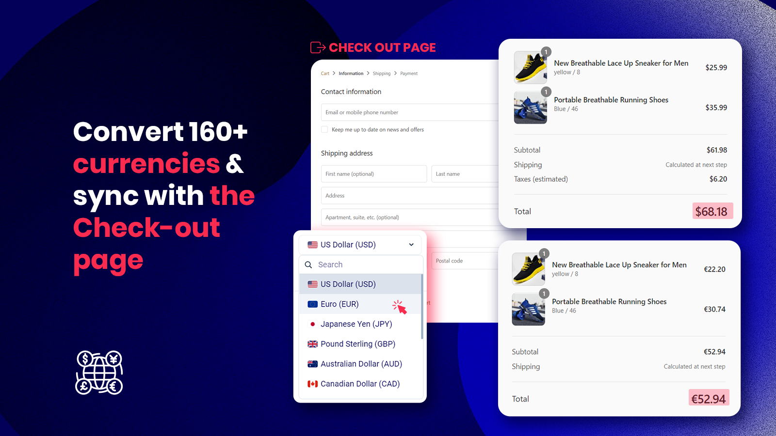 Convert 160+ currencies & sync with the Check-out page