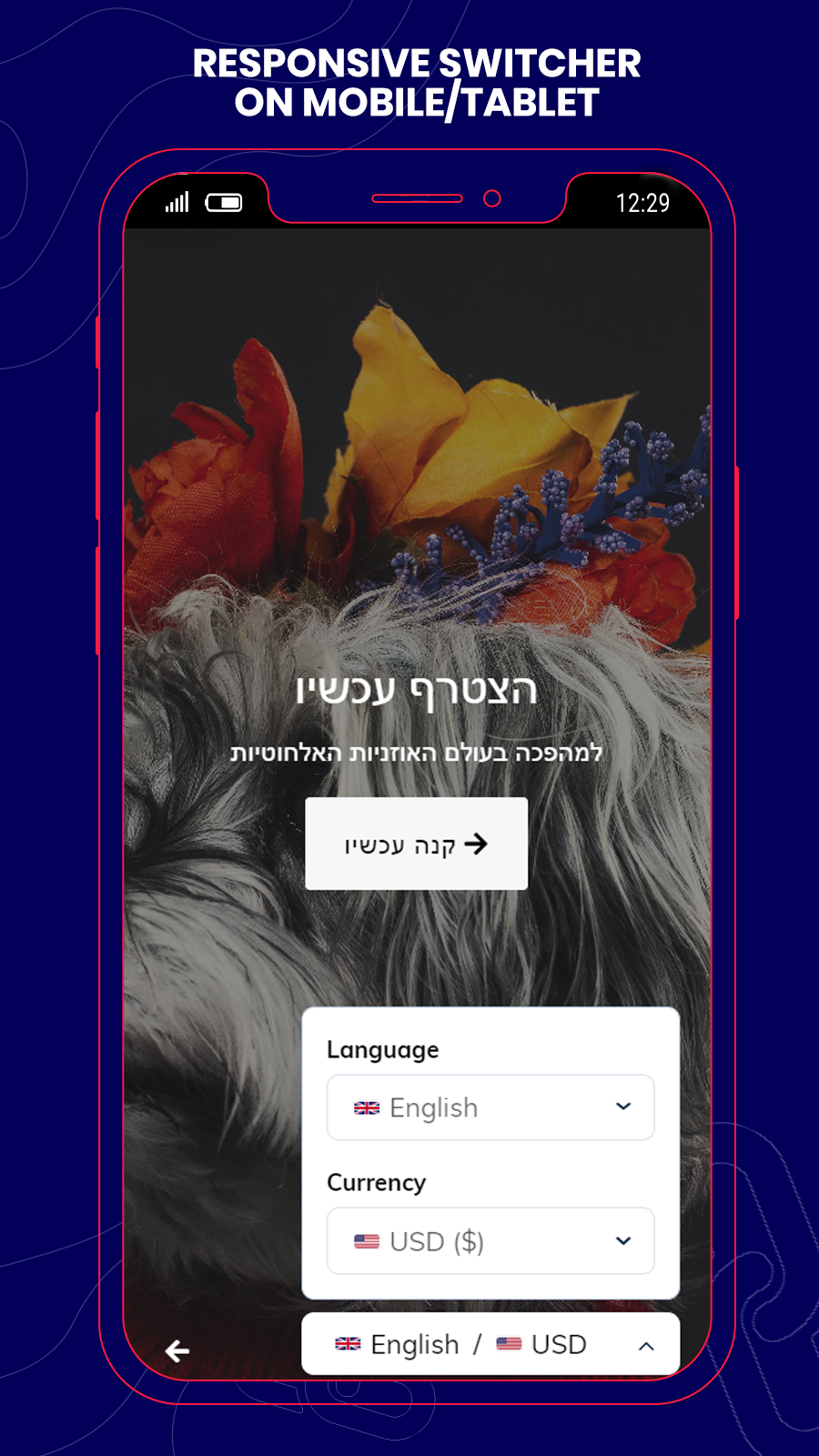 responsive language and currency switcher on mobile and tablet