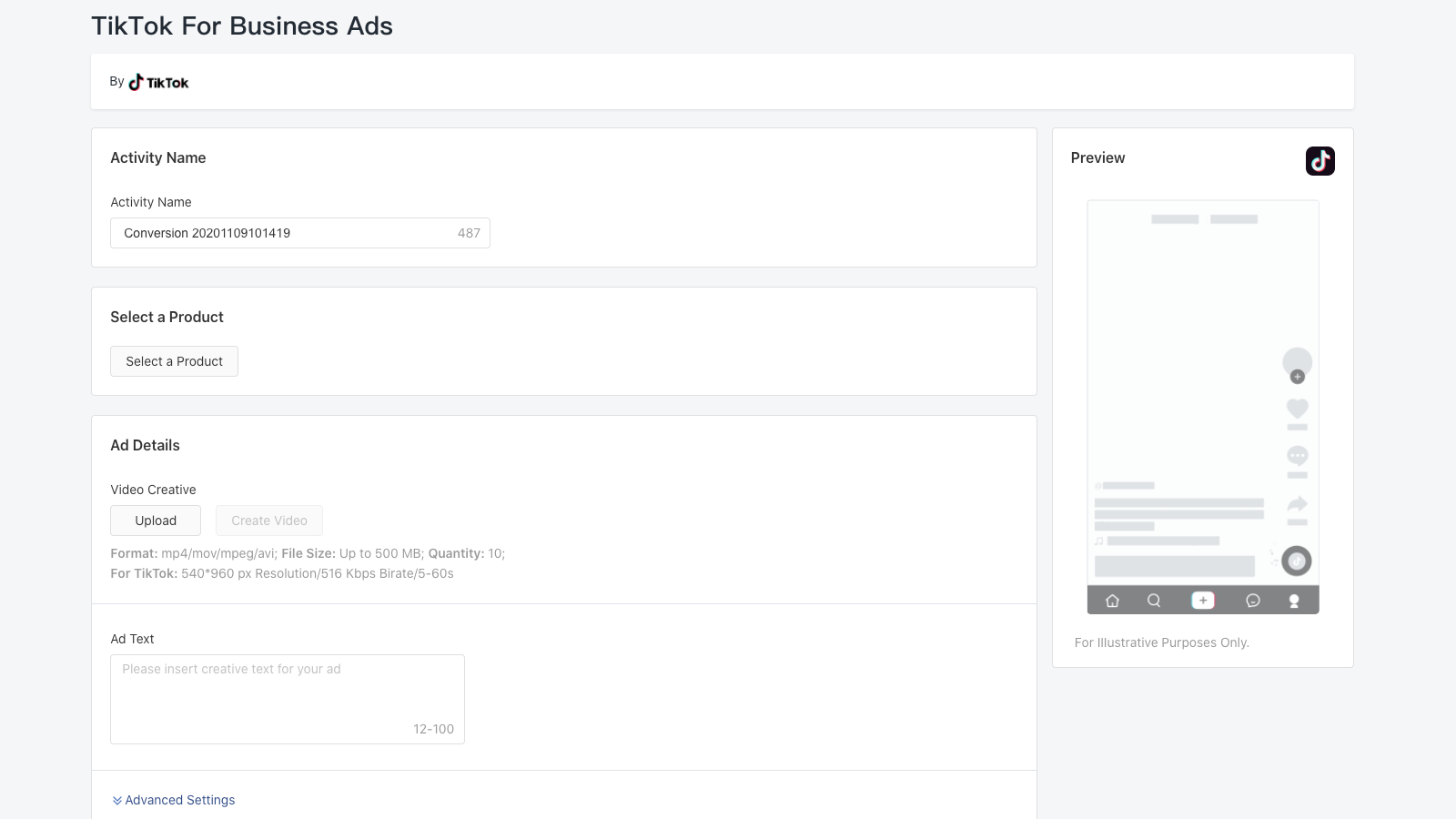Ad creation page for creating your conversion campaign