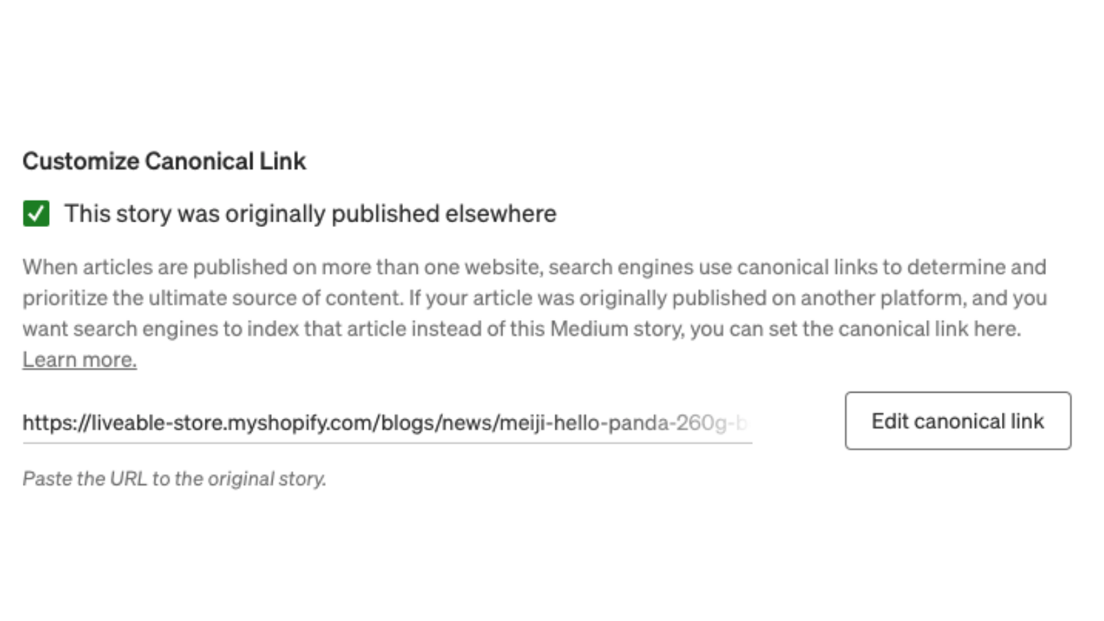Canonical URL automatically entered in Medium. Improves SEO