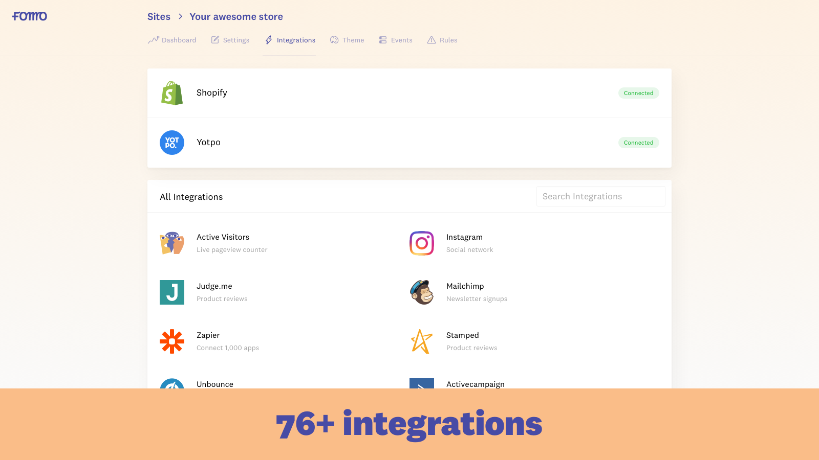 Fomo Integrations for Shopify