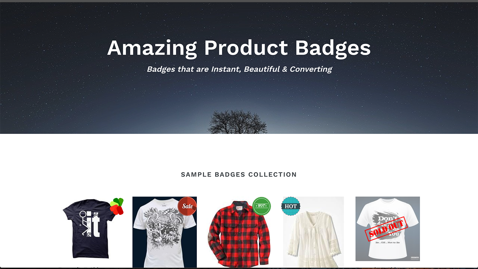 Badges as displayed on our demo store