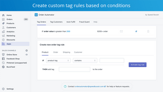create custom tag rules on shopify orders