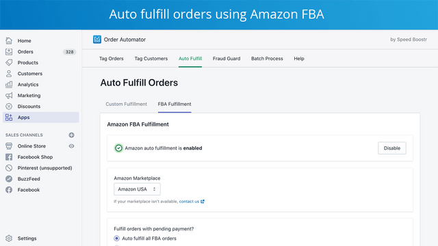 auto fulfill shopify orders with amazon fba