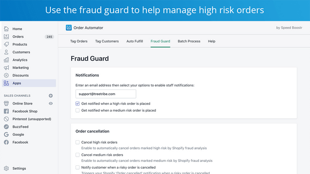 block fraud and cancel high risk orders