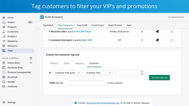 create customer tag rules on shopify orders